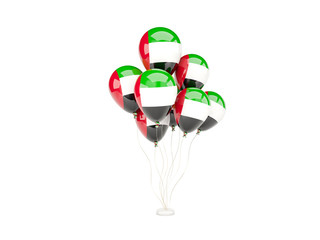 Flying balloons with flag of united arab emirates