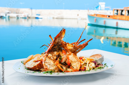 Fotobehang Schaaldieren Lobster dish. Greece