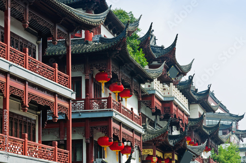 Poszter Chinese traditional buildings in Shanghai.