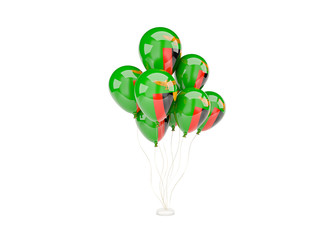 Flying balloons with flag of zambia