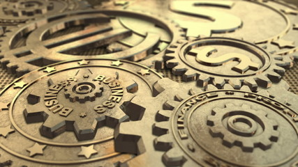 Golden Gears Looped Business Background