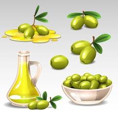 Green olives set