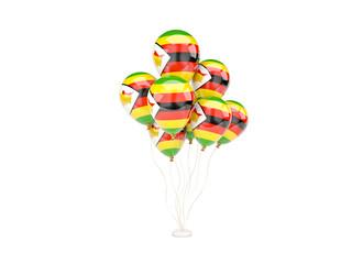 Flying balloons with flag of zimbabwe