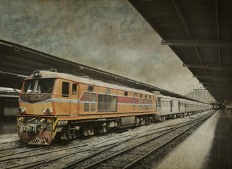 Orange train, black and white background