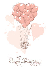Valentine card -- air balloon for lovers