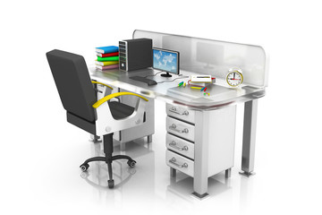 Modern office interior with table with chair .