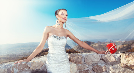 Young attractive bride posing with veil on blue sky