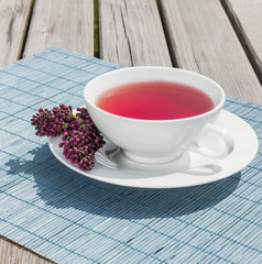 Tea of pomegranate. Hot red healthy drink