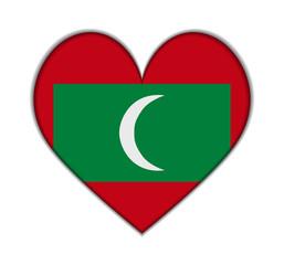 Maldives heart flag vector