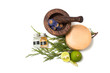 Wooden pounder with bottles of organic oils and soap isolated - 73772207