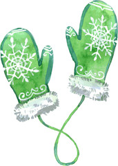 Watercolor green mittens. Vector illustration.