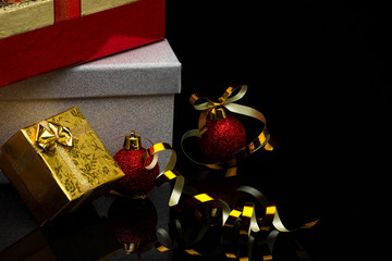 gift boxes and  balls