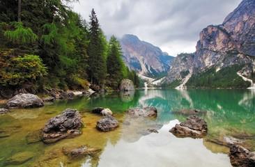 Lake - Lago di Braies in Dolomiti Mountains - Italy Europe