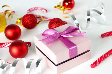 present box and christmas decoration