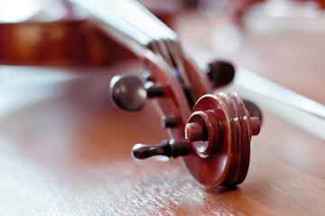 Violin fingerboard closeup