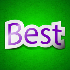 Best seller icon sign. Symbol chic colored sticky label on green