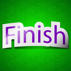 Finish icon sign. Symbol chic colored sticky label on green