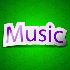 music icon sign. Symbol chic colored sticky label on green