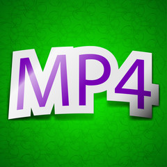 Mpeg4 video format icon sign. Symbol chic colored sticky label