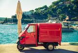 Italian symbolic car in street of Italy, three wheels Apecar.