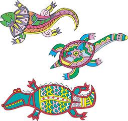 Motley lizard, turtle and crocodile