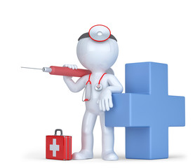 3d Doctor with a syringe and stethoscope. Isolated