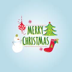Christmas greeting card with snowman christmas tree