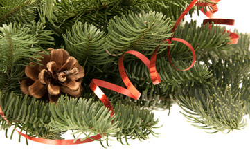 Fir-tree twigs with cones and a red ribbon
