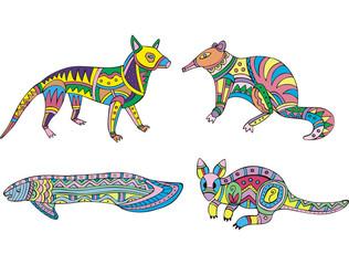 Motley kangaroo, fish and exotic animals