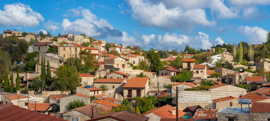 Panoramic view of Lofou, a famous touristic village in Cyprus. L