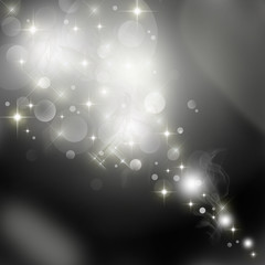 Abstract black and white background with shining stars