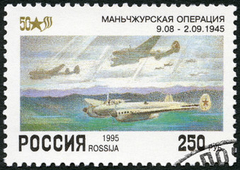 RUSSIA - 1995: shows Russian planes Pe-2 over Manchuria