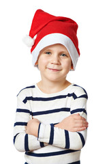 Small handsome boy in red Santa hat isolated