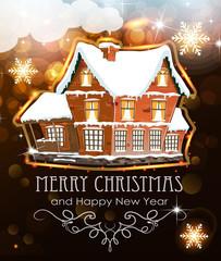 Brick house on Christmas background