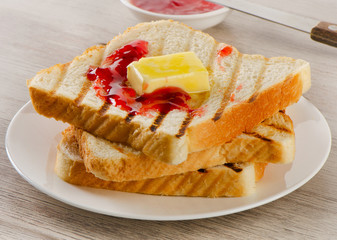 Slices of toast bread with sweet  jam