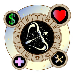 signs of the zodiac icons medicine, work, heart, Finance