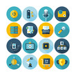 Modern flat circle icons vector collection with long shadow