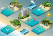 Isometric Tiles of Carribean Holidays