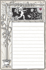 Vintage November Page with Archer Cupid