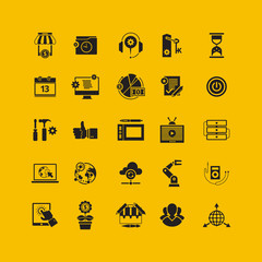 Black flat icons set. Business object, office tools. Marketing,