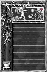 Vintage November Page with Archer Cupid on Blackboard