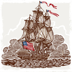 Vintage Page with American Vessel on Seas