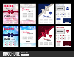 Christmas brochure templates. Abstract flyer design with xmas