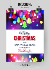 Christmas brochure template. Abstract typographical flyer design