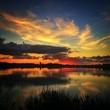 canvas print picture - tramonto lagunare
