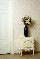 cozy stylish vintage corner of the bedroom with flowers