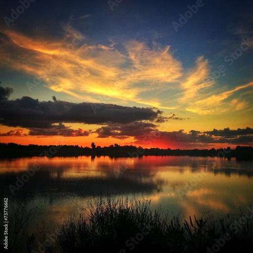 canvas print picture tramonto lagunare