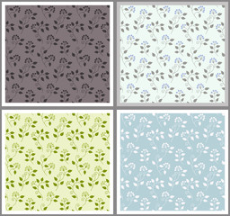 Seamless floral pattern color variations
