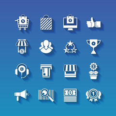 Shopping flat white icons set with long shadows