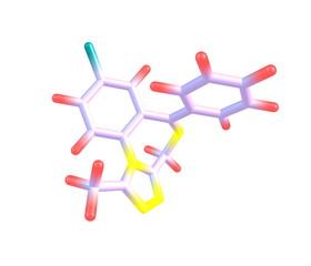 Alprazolam molecule isolated on white